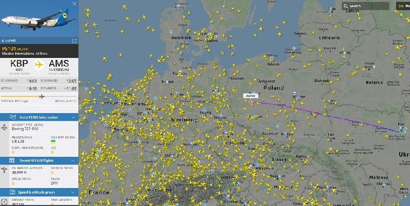 możliwości u strony internetowej Flight radar 24